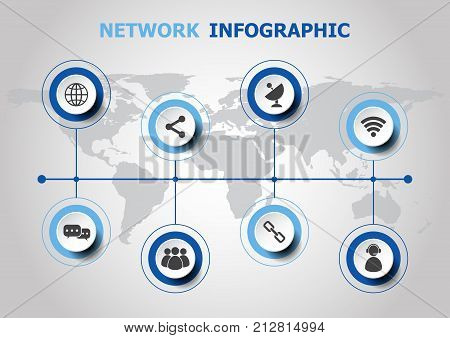 Infographic design with network icons, stock vector