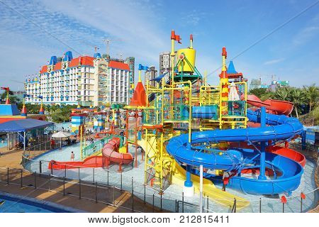 JOHOR BAHARU, MALAYSIA - OCTOBER 17, 2017 ; People having fun at Malaysia Legoland Water Theme Park. First international theme park opened in Asia.