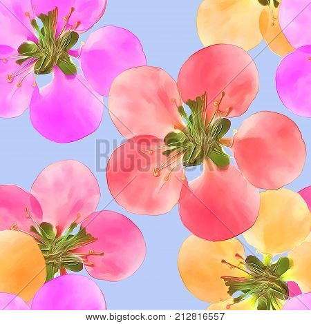 Quince apple quince. Texture of flowers. Seamless pattern for continuous replicate. Floral background photo collage