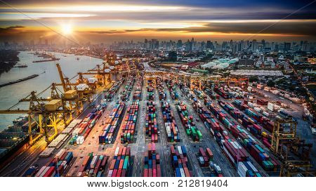 Container Ship In Import Export And Business Logistics, By Crane, Trade Port, Shipping Cargo To Harb