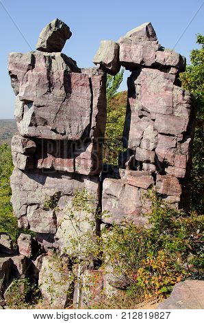 Devil's Doorway on the East Bluff of Devil's Lake State Park Wisconsin USA