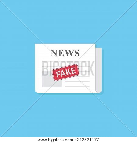 Newspaper with fake news stamp. Hoax concept