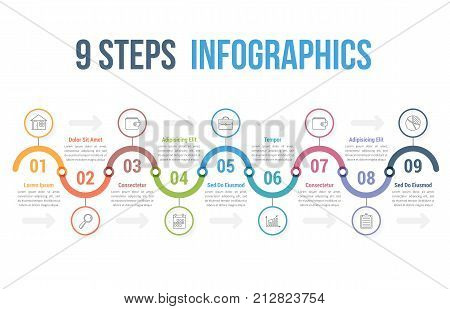 Infographic template with 9 steps or options, workflow, process diagram, vector eps10 illustration