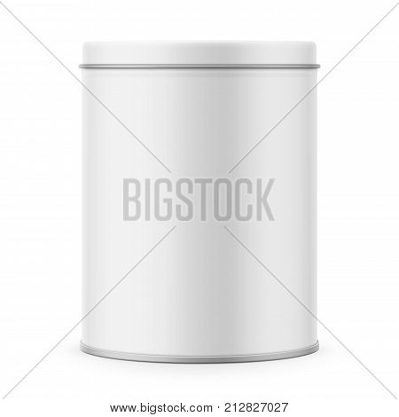 Round white matte tin can with lid. Container for dry products - tea, coffee, sugar, cereals, candy, spice. Realistic packaging vector mockup template. Front view.