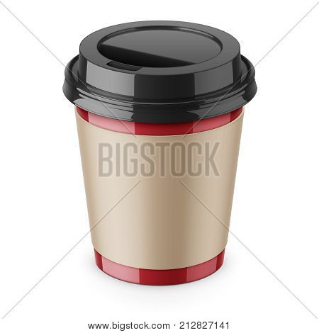 Red paper disposable cup with sleeve and black glossy plastic lid for hot beverage coffee, tea, espresso. 250 ml. Realistic packaging mockup template. High-angle view. Vector 3d illustration.