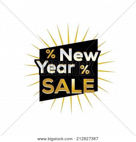 new year sale sign, gold new year sale, bold new year sale, sign design, isolated on white background.
