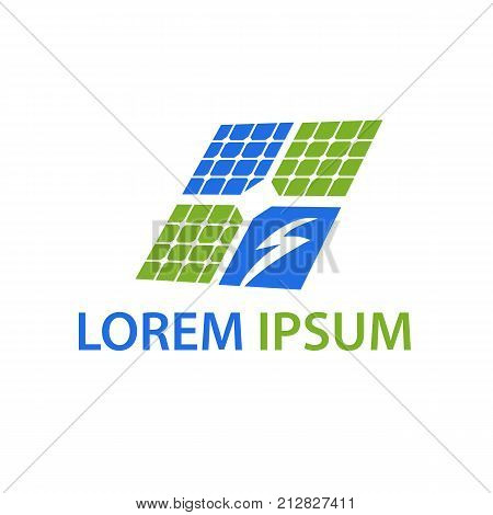 solar panel with bolt symbol , bolt in solar panel, solar panel symbol, energy solar panel symbol, illustration design, isolated on white background.