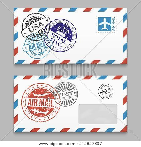 Set of letters design - envelopes with grunge style poststamps. Vector illustration