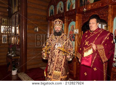 Adygea Russia - November 8 2017: The Archbishop and archdeacon serve at the divine Liturgy in the Orthodox Church