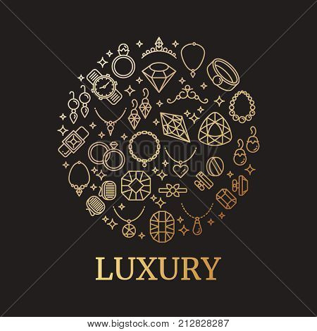 Golden jewelry and gemstones line vector icons. Luxury concept for jewelry store illustration