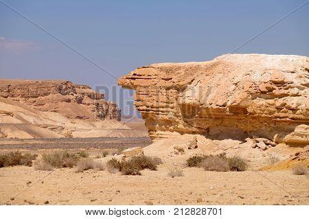 Eroded scenic rock in Negev desert mountains Israel.