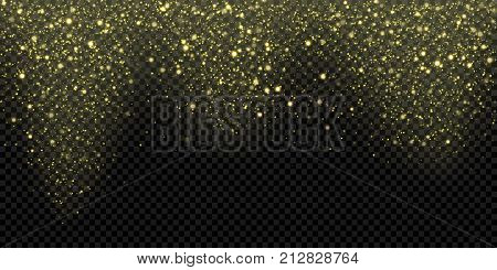 Golden Glitter Snow Falling Glittering Light Vector Gold Particles Christmas Sparkling Background