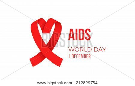 World Aids Day Red Ribbon 1 December Awareness Solidarity Icon Vector Logo