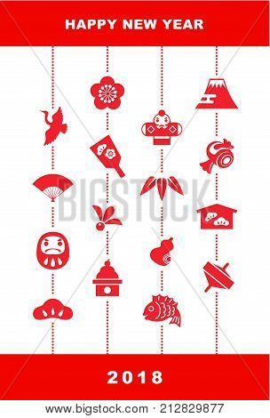 New Year card with Japanese good luck elements for year 2018 pine leaf bamboo leaf plum flower red snapper crane spinning top hand fan tumbling doll Mt.Fuji and kite