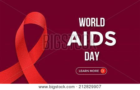 World Aids Day Red Ribbon 1 December Awareness Logo Vector Web Banner