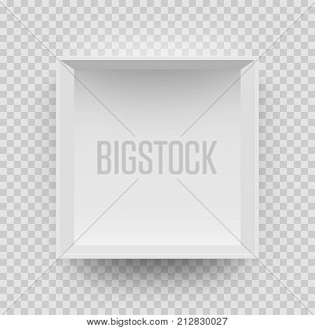 Empty White Box Mock Up Model 3D Top View Model Isolated Transparent Background