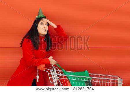 Girl Forgetting to Buy Something Important for Her Party