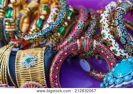 Handcrafted colorful Indian bracelets and other Indian jewelry poster