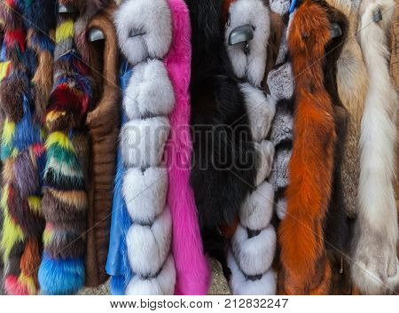 Multicolored fur coats on display/ dyed faux fur coats