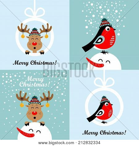 Collection of Christmas cards with cartoon deer and bullfinches. Vector illustrations