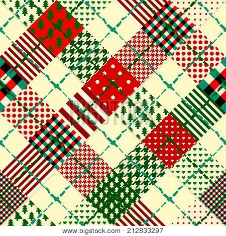 Seamless Christmas background in patchwork style. Interweaving ribbons with Christmas patterns on red background.