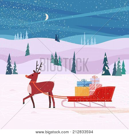 Santa Sleigh and deer poster. Cheerful Reindeer, Christmas snow sledge, gift present boxes. Colorful cartoon. Design for winter holiday season new year event greeting card, banner. Vector illustration