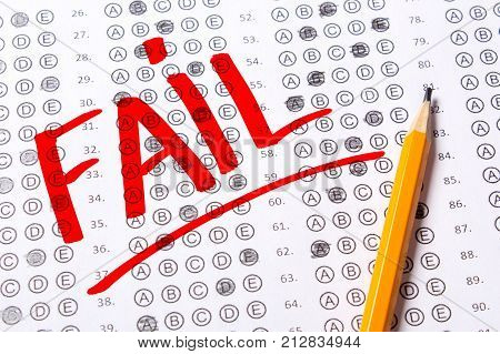 Incorrect negatively passed test fail. Blank multiple choice answer sheet filled with pencil