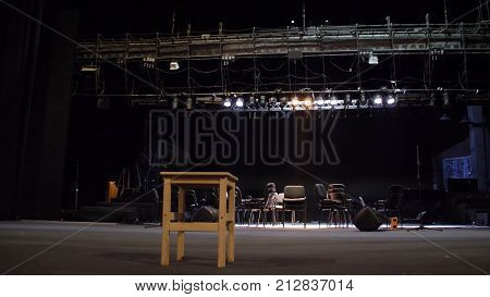 Stage equipment for a concert. Empty stage before concert. Installation and preparing scene for concert. Preparation stage of the theatre.