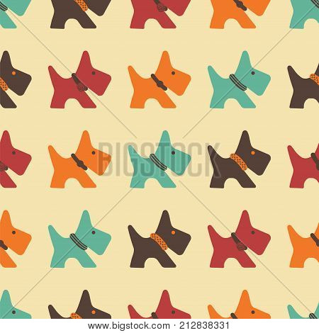 pattern with colored dogs silhouette of dog with diferent collars cute background