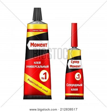 Colorful tubes of super and moment glue with brand information on Russian language realistic vector isolated on white background. Different size original container of cyanoacrylate glue for instant gluing