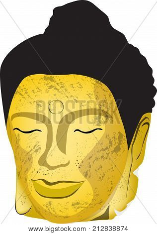The head of the old golden Buddha Dilapidated but beautiful