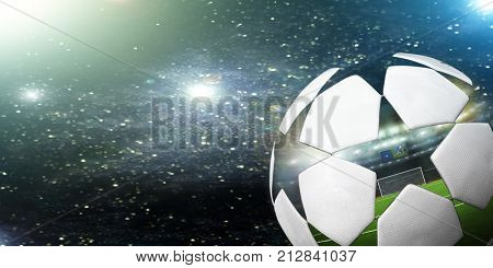 Soccer ball in the background of the starry sky. Background for the World Cup