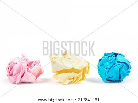 Crumpled paper ball isolated on white background