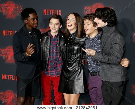 Noah Schnapp, Gaten Matarazzo, Millie Bobby Brown, Caleb McLaughlin and Finn Wolfhard at the Netflix's season 2 premiere of 'Stranger Things' held in Westwood, USA on October 26, 2017.