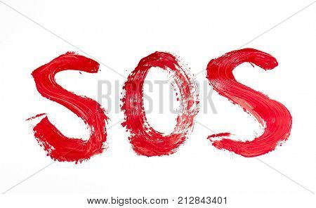 SOS. Painted with a red paint symbol.