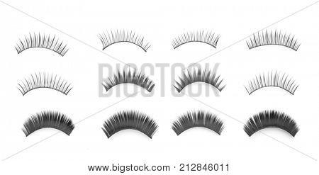 Different types of false eyelashes on white background