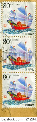 GOMEL, BELARUS, 27 OCTOBER 2017, Stamp printed in China shows image of the Junk is a type of ancient Chinese sailing ship that is still in use today, circa 2017.