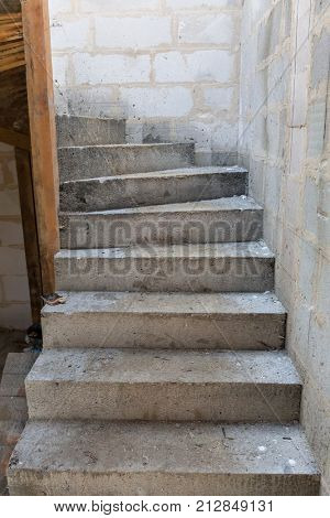 Concrete construction of the stairs in new house