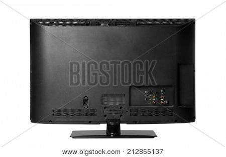 Back view of modern TV set, isolated on white