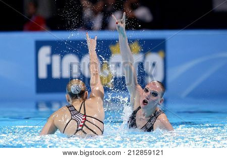 BARCELONA, SPAIN - JULY, 13: Svetlana Kolesnichenko and Svetlana Romashina of Russia during a Duet Synchronised Swimming event of World Championship BCN2013 on July 13, 2013 in Barcelona Spain