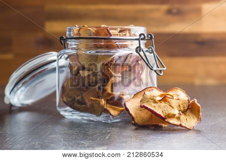 Dried apple slices in jar.