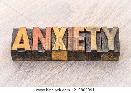 anxiety word abstract in vintage letterpress wood type printing blocks