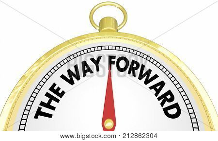 The Way Forward Compass Right Route Ahead Plan 3d Illustration