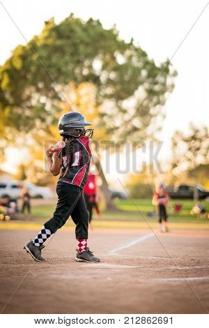 Girl playing softball or baseball