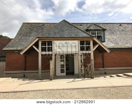 Lulworth Cove, Dorset, United Kingdom. 4th October 2017. Lulworth Cove visitor and information centre on the Jurassic coast Dorset, Untied Kingdom, a very popular tourist destination.
