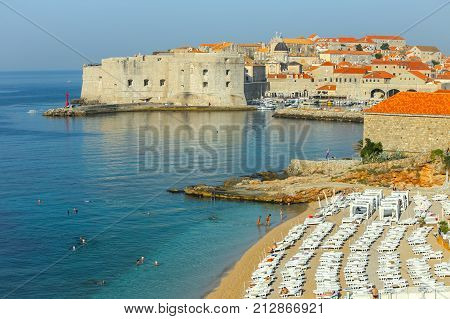 Banje Beach And City Walls In Dubrovnik