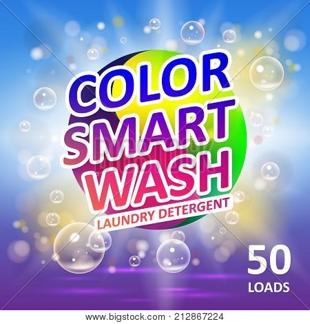 Laundry detergent package ads. Creative soap smart clean design product. Toilet or bathroom color tub cleanser design. Washing machine laundry detergent packaging template. EPS 10