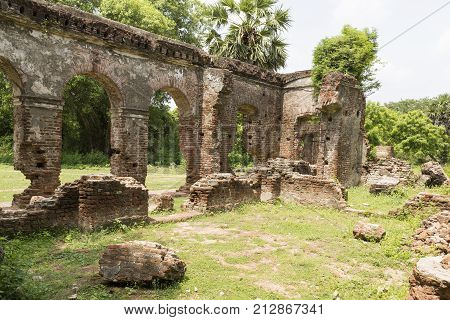 Detail of abandoned half-ruined medieval temple in India Tamil Nadu