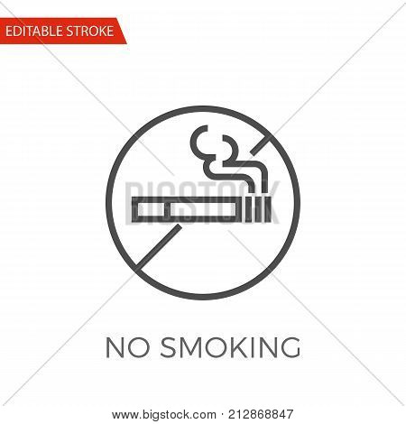 No Smoking Thin Line Vector Icon. Flat Icon Isolated on the White Background. Editable Stroke EPS file. Vector illustration.