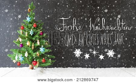 Colorful Christmas Tree On Snow And Snowflakes. Black Background With German Calligraphy Frohe Weihnachten Und Ein Gutes Neues Jahr Means Merry Christmas And Happy New Year.